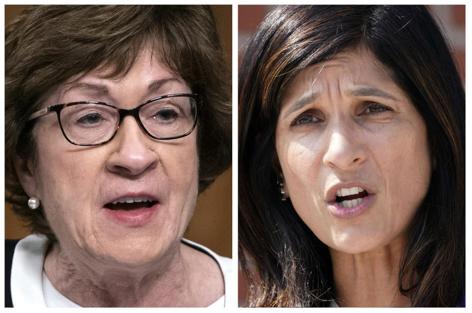 FILE - This pair of 2020 file photos shows incumbent U.S. Sen. Susan Collins, R-Maine, left, and Maine House Speaker Sara Gideon, D-Freeport, right, who are running in the Nov. 3 election to represent Maine in the U.S. Senate. (AP Photos, File)