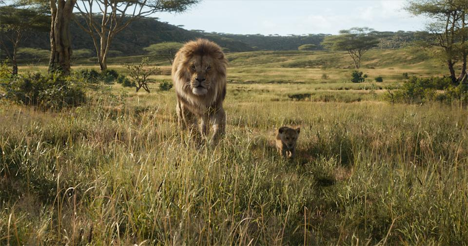 Featuring the voices of James Earl Jones as Mufasa and JD McCrary as Young Simba. (Disney)