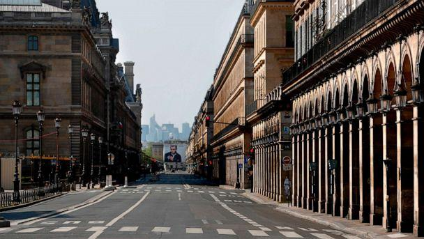 PHOTO: The Rue de Rivoli street in Paris is deserted on the twenty-eighth day of a lockdown in France aimed at curbing the spread of the COVID-19 disease, caused by the novel coronavirus, April 13, 2020. (Thomas Coex/AFP via Getty Images, FILE)