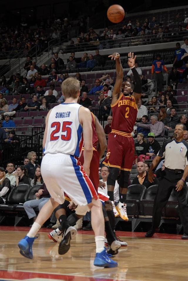 AUBURN HILLS, MI - FEBRUARY 12: Kyrie Irving #2 of the Cleveland Cavaliers shoots against the Detroit Pistons on February 12, 2014 at The Palace of Auburn Hills in Auburn Hills, Michigan. (Photo by Allen Einstein/NBAE via Getty Images)
