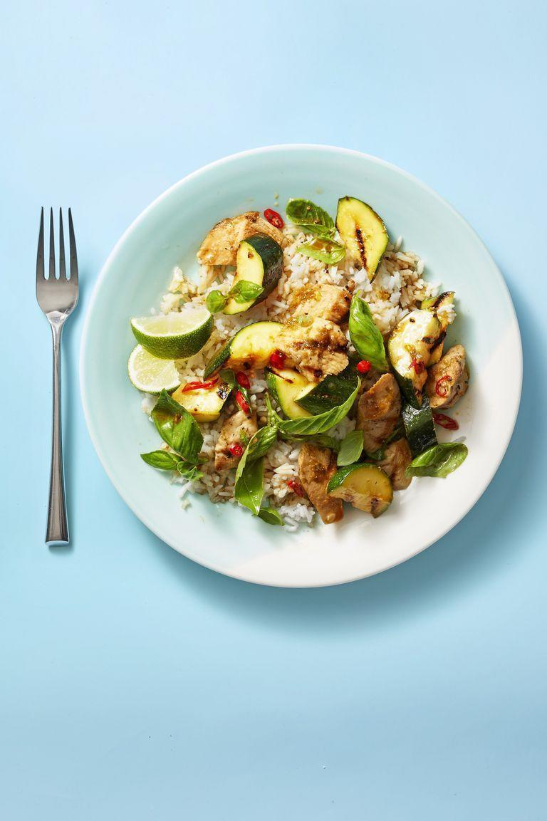 """<p>This recipe calls for chicken tenders, but you can also cut boneless, skinless chicken breasts into 3-in by 1-in pieces.</p><p><em><a href=""""https://www.goodhousekeeping.com/food-recipes/easy/a27545270/grilled-basil-chicken-and-zucchini-recipe/"""" rel=""""nofollow noopener"""" target=""""_blank"""" data-ylk=""""slk:Get the recipe for Grilled Basil Chicken and Zucchini »"""" class=""""link rapid-noclick-resp"""">Get the recipe for Grilled Basil Chicken and Zucchini »</a></em></p>"""