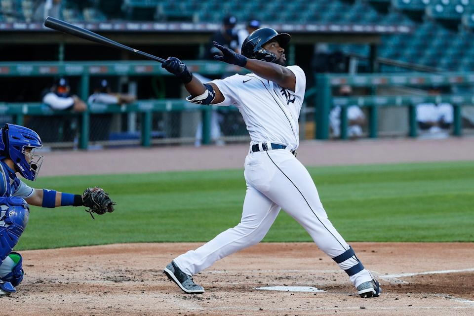 Tigers left fielder Christin Stewart bats against the Royals during the second inning at Comerica Park on Tuesday, July 28, 2020.