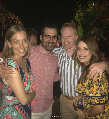 "<p><em>Modern Family </em>stars Jesse Tyler Ferguson and Ty Burrell also got in on the tropical fun. Burrell, in vacation mode, rocked a beard for the bash, while Ferguson sported a gray-and-white striped shirt. ""And then the party stared [sic]!"" Vergara declared. (Photo: Sofia Vergara via Instagram) </p>"