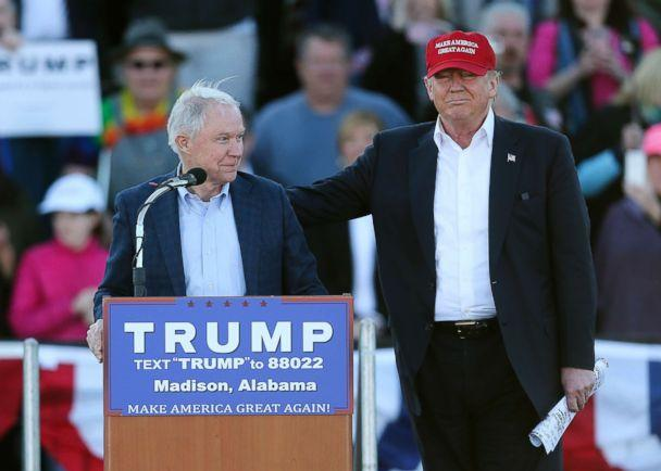 PHOTO:Donald Trump, right, stands next to Sen. Jeff Sessions, as Sessions speaks during a rally on Feb. 28, 2016, in Madison, Ala. (John Bazemore/AP FILE)