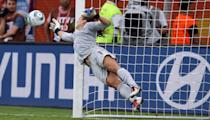Hope Solo, goalkeeper of USA saves a penalty during penalty shoot out during the FIFA Women's World Cup 2011 Quarter Final match at Rudolf-Harbig-Stadion on July 10, 2011 in Dresden, Germany. (Photo by Martin Rose/Getty Images)