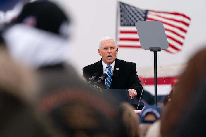 <p>Vice President Mike Pence speaks during a Defend The Majority campaign event on December 11, 2020.</p> ((Photo by Elijah Nouvelage/Getty Images))