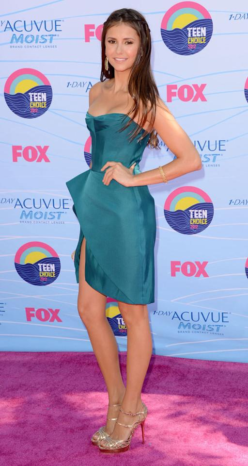 Actress Nina Dobrev arrives at the 2012 Teen Choice Awards at Gibson Amphitheatre on July 22, 2012 in Universal City, California.