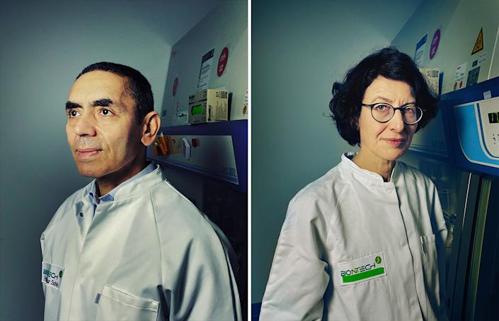 """<strong> Drs. Ugur Sahin and Ozlem Tureci, Co-founders, BioNTech</strong>. In January 2020, before many in the Western world were paying attention to a new virus spreading in China, Dr. Ugur Sahin was convinced it would spur a pandemic. Sahin, who in 2008 co-founded the German biotech company BioNTech with his wife Dr. Ozlem Tureci, went to work on a vaccine and by March called his contact at Pfizer, a much larger pharmaceutical company with which BioNTech had previously worked on an influenza vaccine using mRNA. Less than a year later, the Pfizer-BioNTech COVID-19 vaccine became the first ever mRNA vaccine available for widespread use. Even so, Sahin, BioNTech's CEO, and Tureci, its chief medical officer, maintain that BioNTech is not an mRNA company but rather an immunotherapy company. Much of the couple's work—both at BioNTech and at their previous venture, Ganymed—has focused on treating cancer. But it is mRNA, and the COVID-19 vaccine made possible by the technology, that has pushed the famously hardworking couple into the limelight—and helped them become one of the richest pairs in Germany, though they reportedly still bicycle to work and live in a modest apartment near their office.<span class=""""copyright"""">Dina Litovsky—Redux for TIME</span>"""