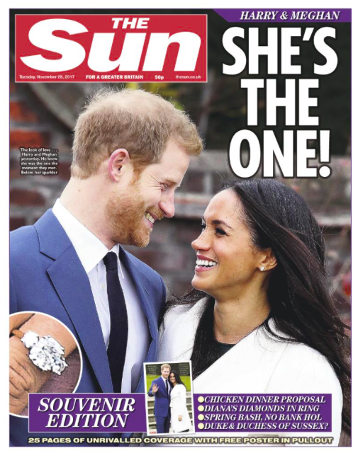 <em>The Sun kept it simple with a full page devoted to Harry and Meghan</em>