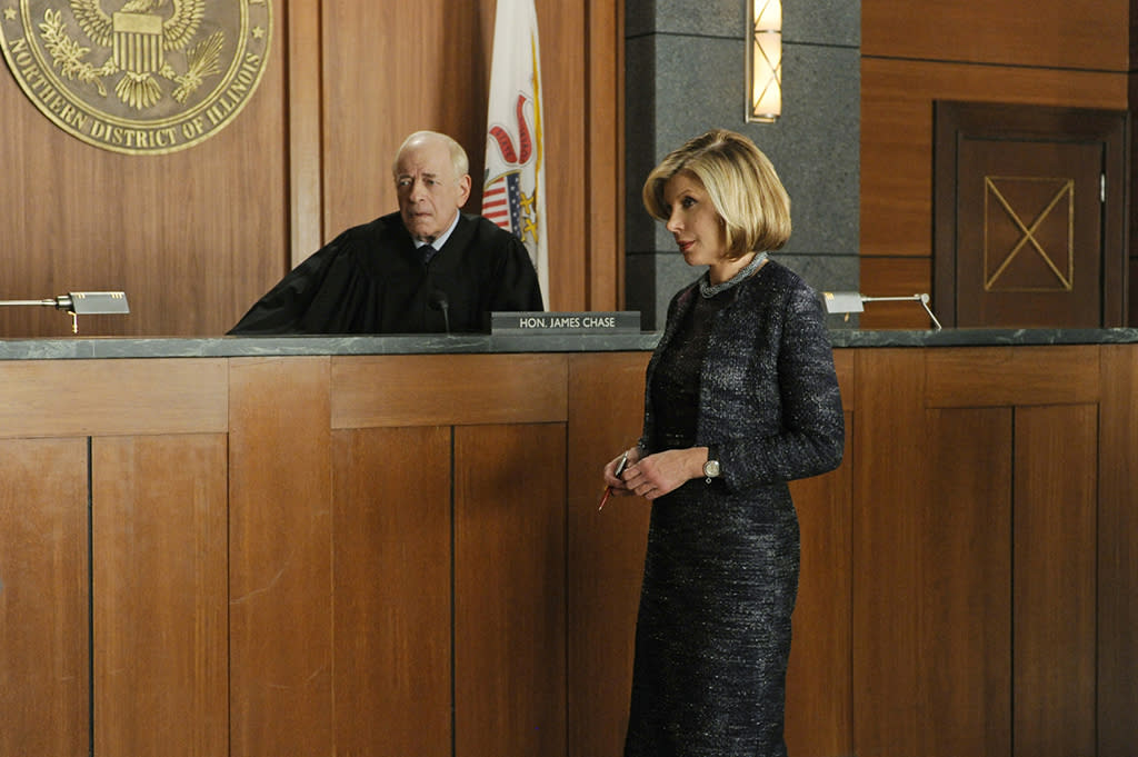 """The Seven Day Rule"" -- Diane (Christine Baranski) speaks on the firm's behalf in front of bankruptcy court Judge Chase (Kenneth Tigar), on ""The Good Wife."""