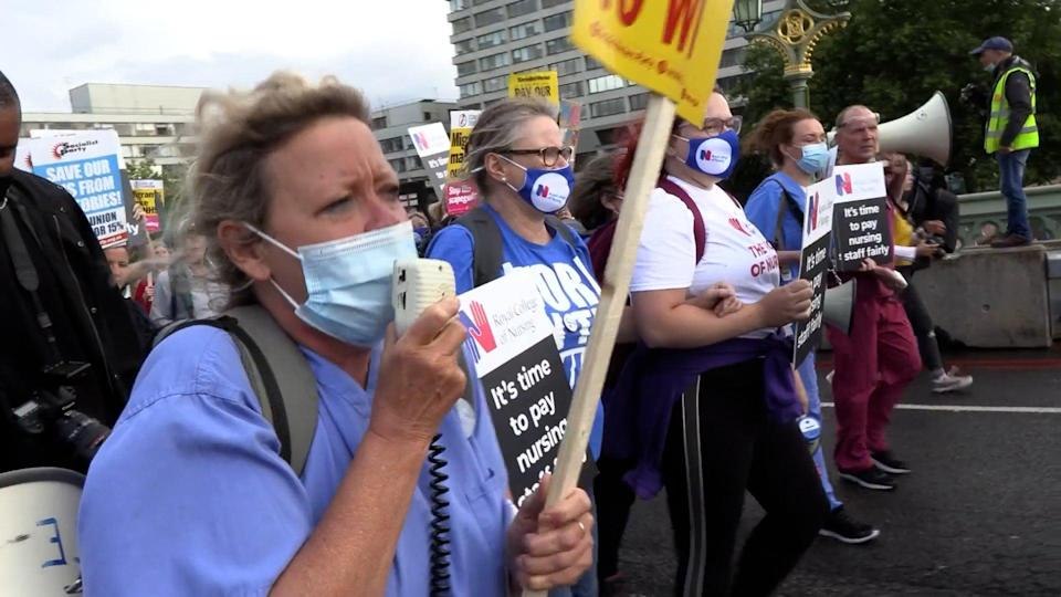 Janet Maiden speaks to health workers (PA Video/PA) (PA Wire)