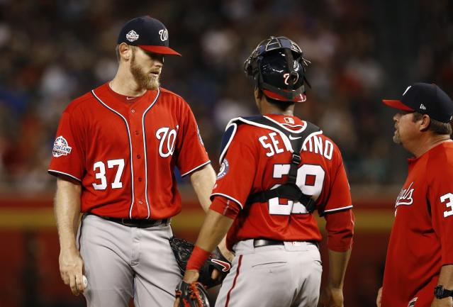 Washington Nationals pitcher Stephen Strasburg has been more than capable of finding the strike zone without extra help from catcher Pedro Severino. (AP Photo)