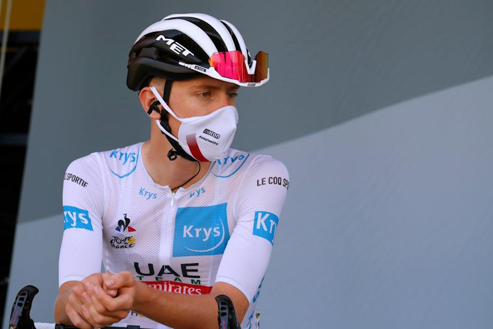 MERIBEL FRANCE  SEPTEMBER 16 Start  Tadej Pogacar of Slovenia and UAE Team Emirates White Best Young Jersey  Mask  Covid safety measures  Team Presentation  during the 107th Tour de France 2020 Stage 17 a 170km stage from Grenoble to Mribel  Col de la Loze 2304m  TDF2020  LeTour  on September 16 2020 in Mribel France Photo by Christophe Ena  PoolGetty Images