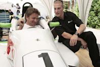 Greg Marshall, right, a student from Wiltshire College, shows celebrity chef James Martin the Formula Ford 1600 car run by Wiltshire College Motorsport workshops, which is on display at Hackney Community College during the 2nd annual VQ Day (Vocational Qualifications Day).
