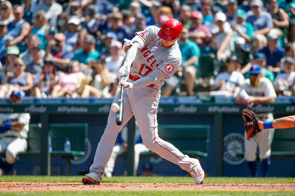Shohei Ohtani leads the major leagues in home runs (33) and slugging percentage (.698) at the All-Star break.