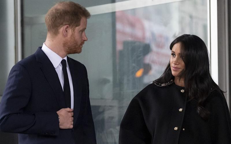 Harry and Meghan, pictured in London in March - Mark Cuthbert/UK Press