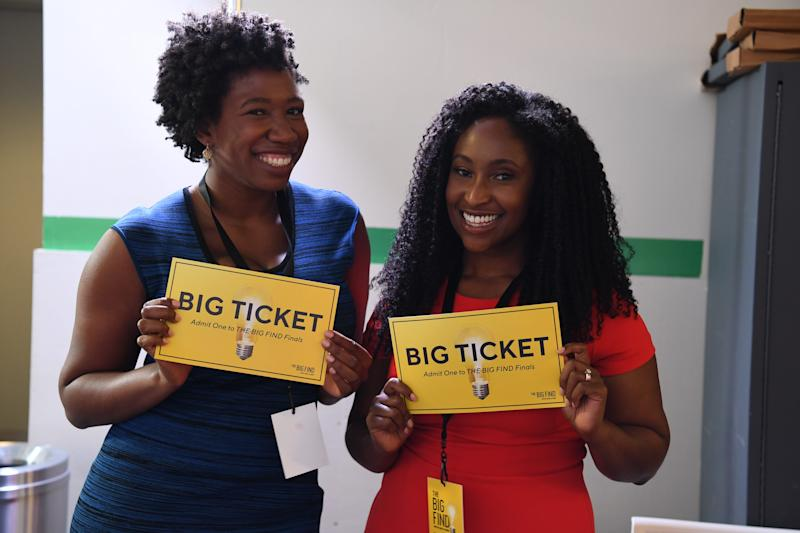 Mented Cosmetics founders Amanda Johnson, left, and KJ Miller show off their Big Ticket certificates, a significant step on their way to presenting their products on HSN and QVC.