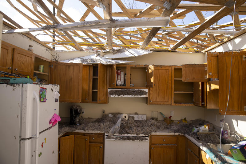 Interior view of a tornado damaged apartment in Cookeville, Tennessee.