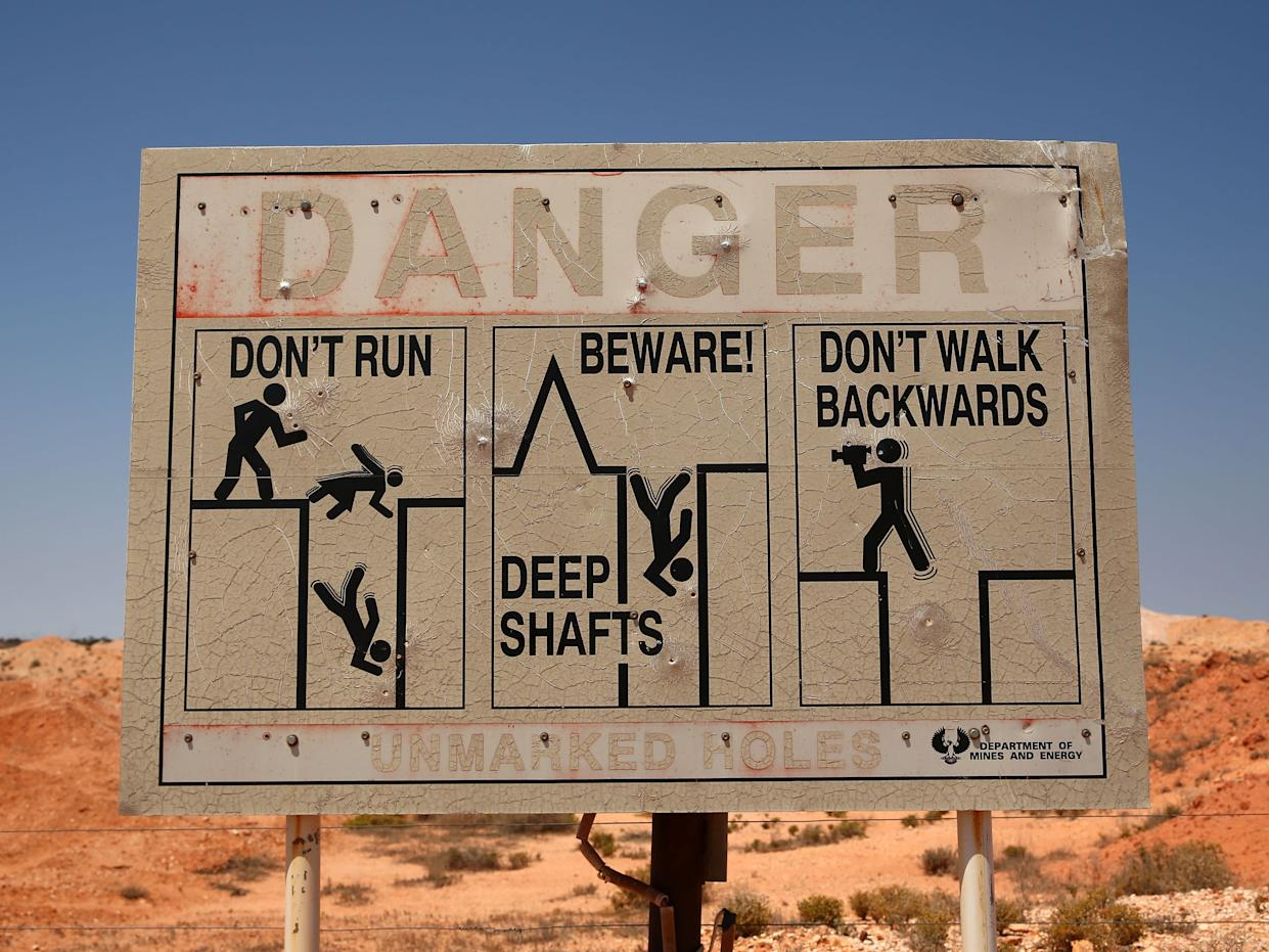 Signs in Coober Pedy.