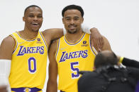 Los Angeles Lakers guard Russell Westbrook, left, takes a photo with Talen Horton-Tucker (5) during the NBA basketball team's Media Day Tuesday, Sept. 28, 2021, in El Segundo, Calif. (AP Photo/Marcio Jose Sanchez)
