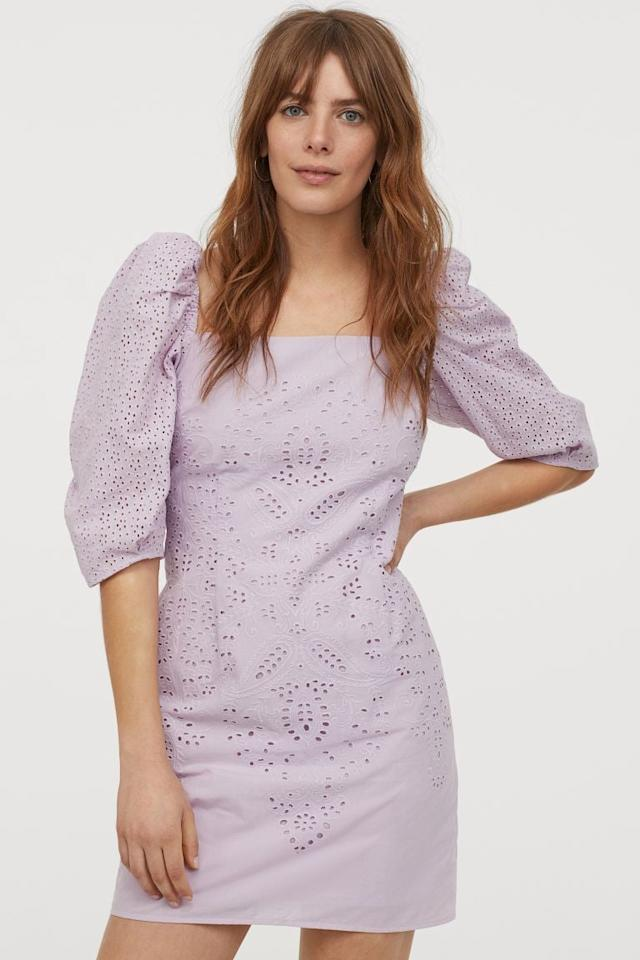 """<p>This pretty <a href=""""https://www.popsugar.com/buy/HampM-Eyelet-Embroidery-Dress-583213?p_name=H%26amp%3BM%20Eyelet%20Embroidery%20Dress&retailer=www2.hm.com&pid=583213&price=35&evar1=fab%3Aus&evar9=47559591&evar98=https%3A%2F%2Fwww.popsugar.com%2Fphoto-gallery%2F47559591%2Fimage%2F47559719%2FHM-Eyelet-Embroidery-Dress&list1=shopping%2Ch%26m%2Cdresses%2Csustainability%2Cproducts%20under%20%2450%2Cfashion%20shopping%2Csustainable%20fashion&prop13=api&pdata=1"""" rel=""""nofollow"""" data-shoppable-link=""""1"""" target=""""_blank"""" class=""""ga-track"""" data-ga-category=""""Related"""" data-ga-label=""""https://www2.hm.com/en_us/productpage.0857271001.html"""" data-ga-action=""""In-Line Links"""">H&amp;M Eyelet Embroidery Dress</a> ($35) will be a seasonal favorite.</p>"""