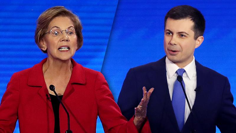 Sen. Elizabeth Warren and Mayor Pete Buttigieg. (Joe Raedle/Getty Images (2))