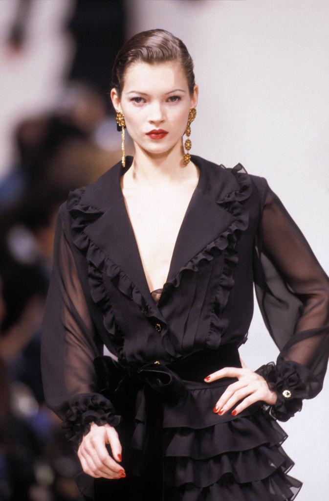 Kate Moss appearing for Yves Saint Laurent in 1993 in Paris. (Getty Images)