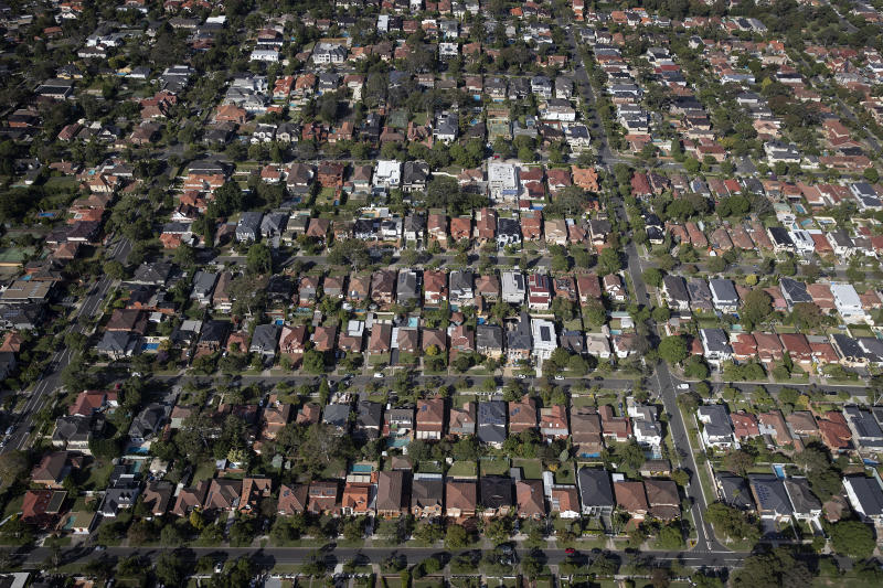 SYDNEY, AUSTRALIA - APRIL 22: An aerial view of suburban houses on April 22, 2020 in Sydney, Australia. Restrictions have been placed on all non-essential business and strict social distancing rules are in place across Australia in response to the COVID-19 pandemic. (Photo by Ryan Pierse/Getty Images)