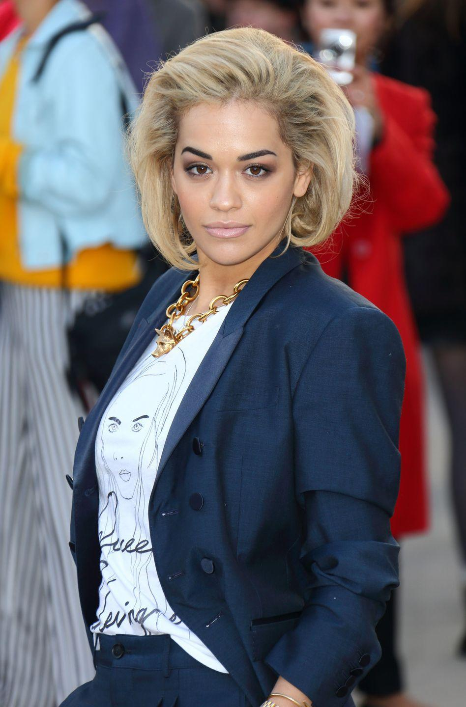 <p>Singer <strong>Rita Ora's</strong> blonde bob is styled so the waves are flipped under, creating volume and body, as well as framing her face. </p>