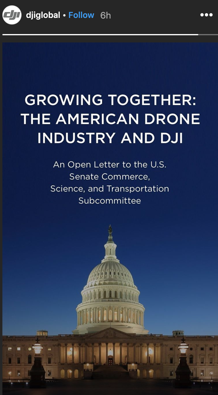 DJI sent an open letter to US senators
