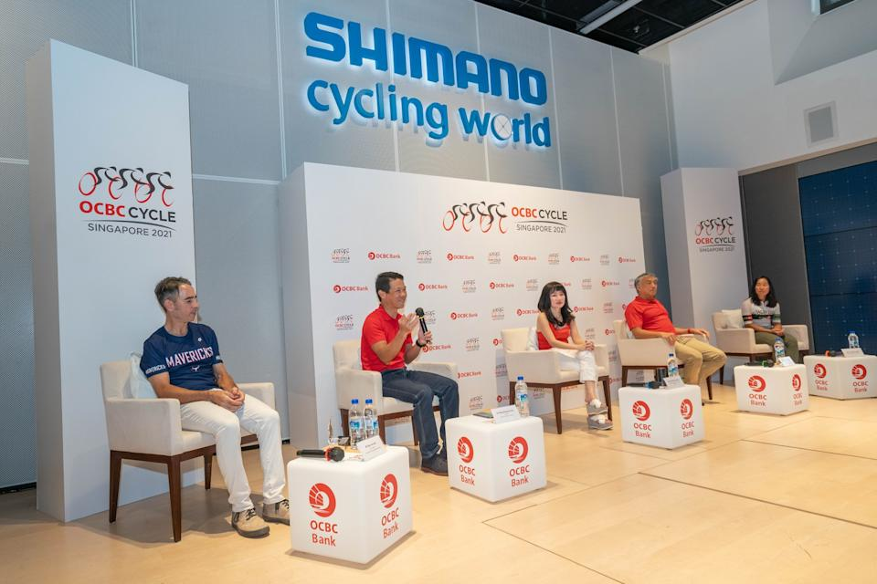 Launch of the OCBC Cycle 2021 at Shimano Cycling World at the Singapore Sports Hub. (PHOTO: OCBC)