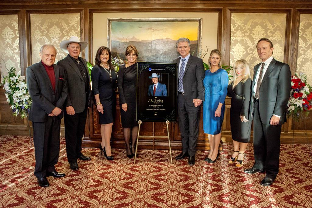 L-R: Ken Kercheval (Cliff), Steve Kanaly (Ray), Deborah Shelton (Mandy), Linda Gray (Sue Ellen), Patrick Duffy (Bobby), Cathy Podewell (Cally), Charlene Tilton (Lucy), and Ted Shackelford (Gary) in 'J.R.'s Masterpiece' from Season 2 of 'Dallas'