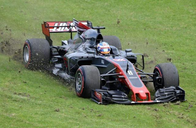 Romain over the fields: Grosjean's 2017 Haas, complete with that ugly fin, which flexes alarmingly at speed