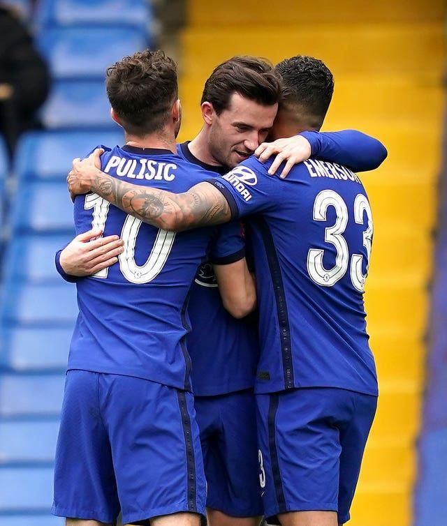 Chelsea's Ben Chilwell (centre) celebrates their opening goal