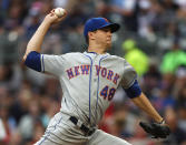New York Mets starting pitcher Jacob deGrom (48) works in the first inning of a baseball game against the Atlanta Braves Tuesday, June 18, 2019, in Atlanta. (AP Photo/John Bazemore)