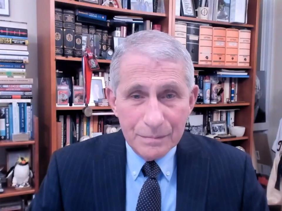 <p>Anthony Fauci addresses the 148th session of the WHO Executive Board</p> (EPA)