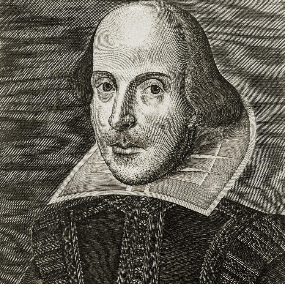 Portrait of William Shakespeare from the title page of the First Folio of Shakespeare's plays; copper engraving by Martin Droeshout, 1623. One of the earliest portraits of Shakespeare. (Photo by GraphicaArtis/Getty Images)
