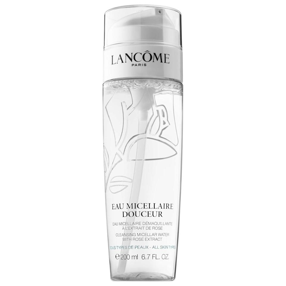 "<p>The non-comedogenic <a href=""https://www.popsugar.com/buy/Lanc%C3%B4me-Eau-Fra%C3%AEche-Douceur-Micellar-Cleansing-Water-Face-Eyes-Lips-586895?p_name=Lanc%C3%B4me%20Eau%20Fra%C3%AEche%20Douceur%20Micellar%20Cleansing%20Water%20Face%2C%20Eyes%2C%20Lips&retailer=sephora.com&pid=586895&price=40&evar1=bella%3Aus&evar9=47595992&evar98=https%3A%2F%2Fwww.popsugar.com%2Fphoto-gallery%2F47595992%2Fimage%2F47595997%2FLanc%C3%B4me-Eau-Fra%C3%AEche-Douceur-Micellar-Cleansing-Water-Face-Eyes-Lips&list1=sephora%2Ccleanser%2Cbeauty%20shopping%2Cskin%20care&prop13=api&pdata=1"" class=""link rapid-noclick-resp"" rel=""nofollow noopener"" target=""_blank"" data-ylk=""slk:Lancôme Eau Fraîche Douceur Micellar Cleansing Water Face, Eyes, Lips"">Lancôme Eau Fraîche Douceur Micellar Cleansing Water Face, Eyes, Lips</a> ($40) removes makeup, gently tones skin, and has an average 4.5-star rating from other Sephora shoppers.</p>"