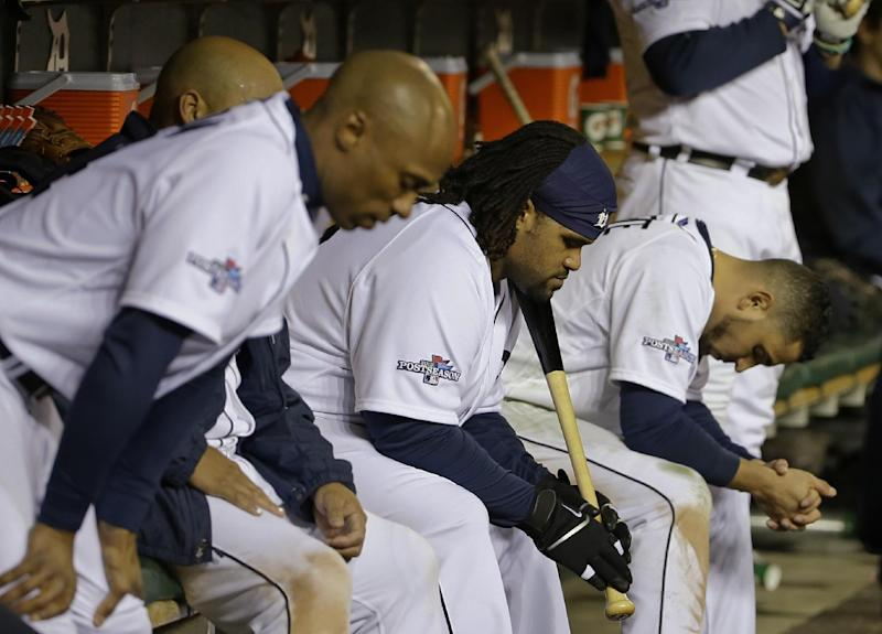 Detroit Tigers' Prince Fielder, second from right, reacts with his teammates in the ninth inning during Game 5 of the American League baseball championship series against the Boston Red Sox, Thursday, Oct. 17, 2013, in Detroit. The Red Sox won 4-3. (AP Photo/Matt Slocum)