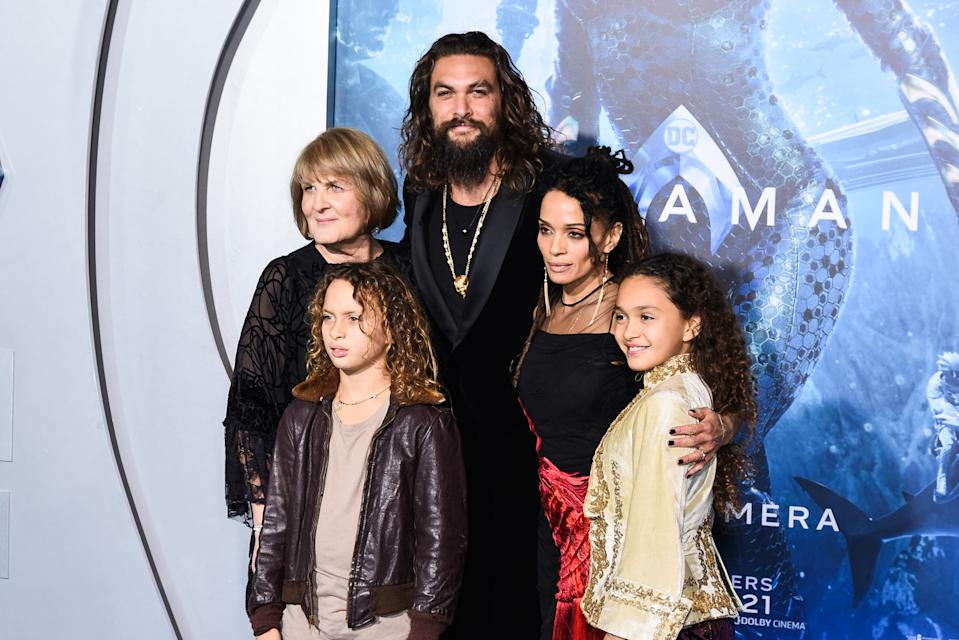 "Coni Momoa, Jason Momoa, Nakoa-Wolf Manakauapo Namakaeha Momoa, Lisa Bonet, and Lola Iolani Momoa attends the premiere of Warner Bros. Pictures' ""Aquaman"" at TCL Chinese Theatre on December 12, 2018 in Hollywood, California. (Photo by Presley Ann/FilmMagic)"