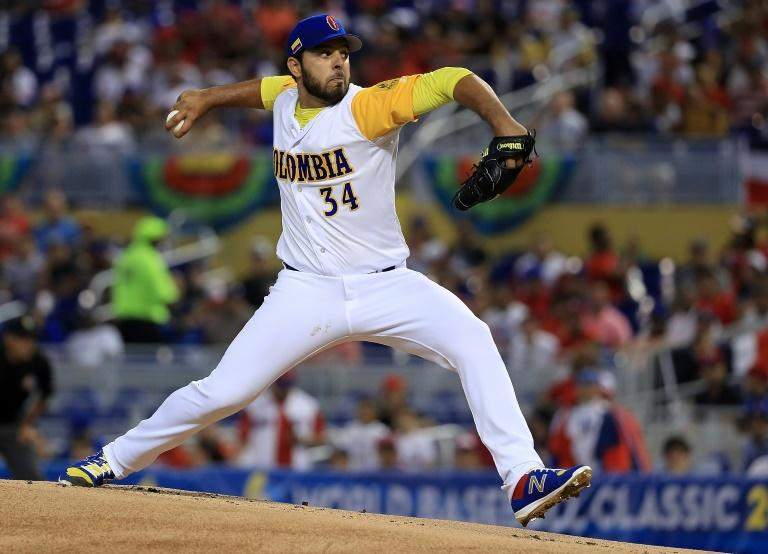 Nabil Crismatt of Colombia pitches during a Pool C game of the 2017 World Baseball Classic against the Dominican Republic at Miami Marlins Stadium on March 12, 2017