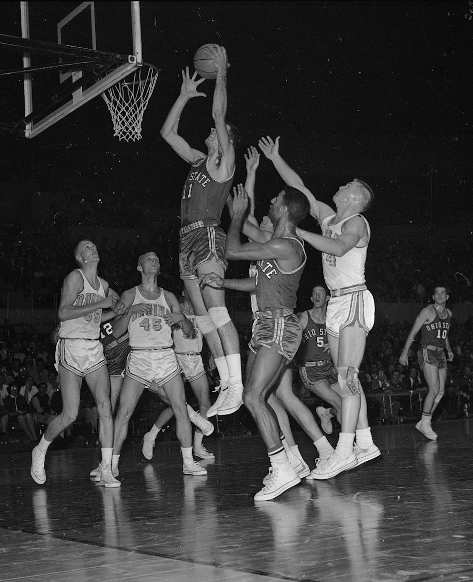Ohio State's Jerry Lucas scores against UCLA in 1961