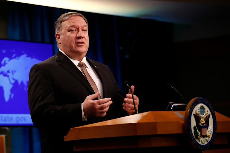 "Secretary of State Mike Pompeo speaks at a news conference to announce the Trump administration's plan to designate Iran's Revolutionary Guard a ""foreign terrorist organization."" (Photo: Patrick Semansky/AP)"