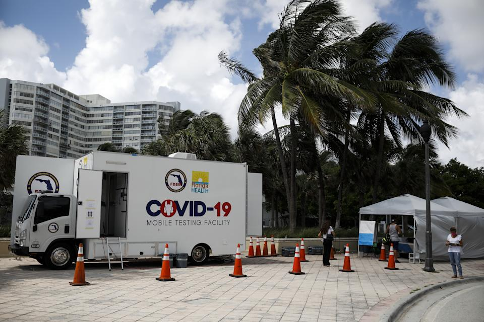 General view of a mobile COVID-19 testing facility, in Miami Beach, Florida, United States on July 24, 2020.