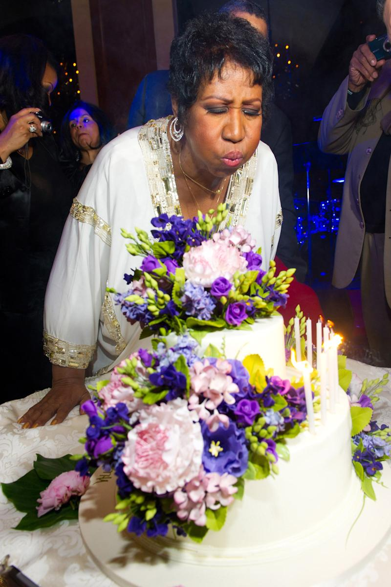 Aretha Franklin celebrates her 69th birthday, in New York, Friday, March 25, 2011. (AP Photo/Charles Sykes)