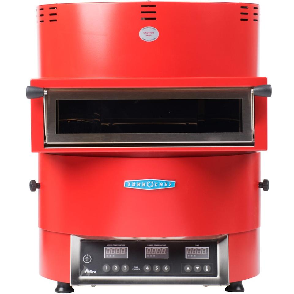 """So the Turbochef Fire is more reasonable for a commercial pizza-making operation (a bit of a hefty price tag), but we still wanted to show off the bright, retro design. The surprisingly small, lightweight pizza oven can be set up pretty much anywhere, and churns out pizza at a rapid pace. An old-school look with high-speed abilities. <a href=""""https://www.webstaurantstore.com/turbochef-fire-fre-9500-1-red-countertop-pizza-oven/532FIRERED.html?utm_source=Google&utm_medium=cpc&utm_campaign=GoogleShopping&gclid=EAIaIQobChMImfPek-Hh4gIVClYNCh33sw8cEAQYASABEgLpdPD_BwE"""" rel=""""nofollow"""">SHOP NOW</a>: Fire FRE-9500-1 Red Countertop Pizza Oven by Turbochef, $5,300, webstaurantstore.com"""