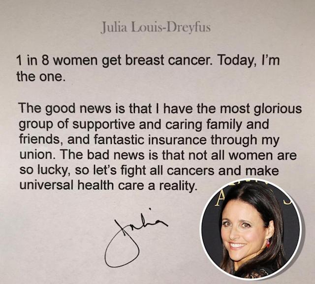 "<p>Coming off her sixth consecutive Emmy win for her role in <em>Veep</em>, Julia Louis-Dreyfus revealed in September that she was battling breast cancer. She had been <a href=""http://people.com/celebrity/julia-louis-dreyfus-announces-shes-battling-breast-cancer/"" rel=""nofollow noopener"" target=""_blank"" data-ylk=""slk:diagnosed the day after the Emmy Awards"" class=""link rapid-noclick-resp"">diagnosed the day after the Emmy Awards</a>. ""1 in 8 women get breast cancer. Today, I'm the one,"" Louis-Dreyfus shared soon after. ""The good news is that I have the most glorious group of supportive and caring family and friends. The bad news is that not all women are so lucky, so let's fight all cancers and make universal health care a reality."" In October, she posted that she had <a href=""https://www.yahoo.com/entertainment/julia-louis-dreyfus-reveals-she-014733987.html"" data-ylk=""slk:completed;outcm:mb_qualified_link;_E:mb_qualified_link"" class=""link rapid-noclick-resp newsroom-embed-article"">completed</a> her second round of chemotherapy. (Photo: Instagram/Julia Louis-Dreyfus/Getty Images) </p>"