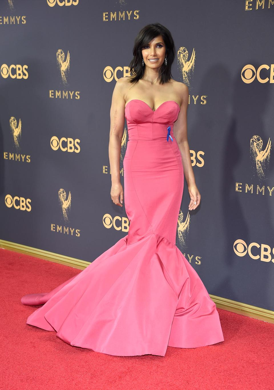 <p>Padma Lakshmi attends the 69th Primetime Emmy Awards on Sept. 17, 2017.<br> (Photo: Getty Images) </p>