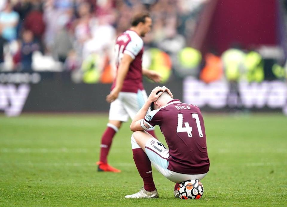 West Ham react to Mark Noble's missed penalty (PA Wire)