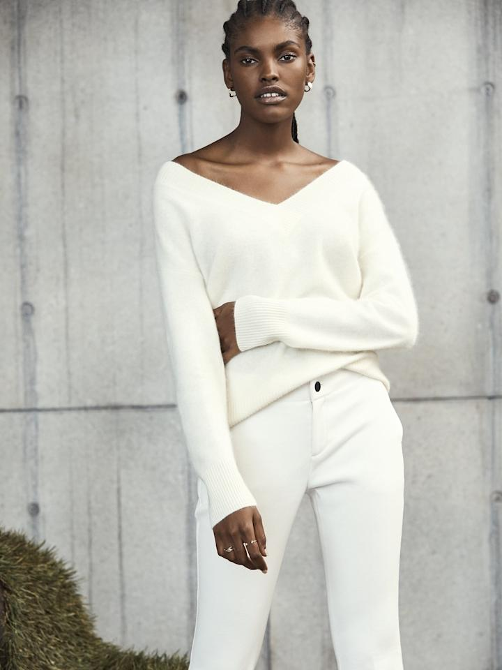 """<p>We're into the chic silhouette of this <a href=""""https://www.popsugar.com/buy/Brushed-Cashmere-V-Neck-Sweater-498954?p_name=Brushed%20Cashmere%20V-Neck%20Sweater&retailer=bananarepublic.gap.com&pid=498954&price=229&evar1=fab%3Aus&evar9=46726429&evar98=https%3A%2F%2Fwww.popsugar.com%2Ffashion%2Fphoto-gallery%2F46726429%2Fimage%2F46726440%2FBrushed-Cashmere-V-Neck-Sweater&list1=shopping%2Cbanana%20republic%2Cfall%20fashion%2Csweaters%2Cfall&prop13=api&pdata=1"""" rel=""""nofollow"""" data-shoppable-link=""""1"""" target=""""_blank"""" class=""""ga-track"""" data-ga-category=""""Related"""" data-ga-label=""""https://bananarepublic.gap.com/browse/product.do?pid=492411022&amp;cid=1044269&amp;pcid=5032&amp;vid=1&amp;grid=pds_18_30_1#pdp-page-content"""" data-ga-action=""""In-Line Links"""">Brushed Cashmere V-Neck Sweater</a> ($229).</p>"""